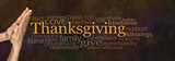 Fototapety Thanksgiving Word Cloud Website Banner - Female hands in prayer position alongside a golden 'Thanksgiving' word surrounded by a relevant word cloud on a warm dark golden stone effect background
