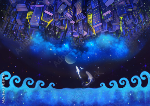 Foto op Aluminium New York Illustration: The Upside Down City Buildings in the Starry Night with Flying Fish. A Good Wish Card appropriate for any event. Fantastic Cartoon Style Wallpaper Background Scene Design.