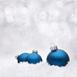 Blue Christmas Balls between snowflakes
