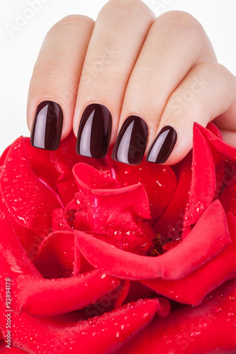 Plagát, Obraz Dark red nail polish.