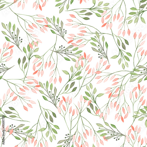 Seamless pattern with watercolor flowers, leaves and branches on a white background, wedding decoration - 93897781