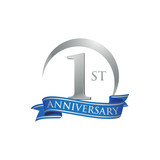 1st anniversary ring logo blue ribbon