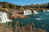 cascade in the nature reserve of the lagoon of Ruidera in Albacete, Castilla  la Mancha, Spain