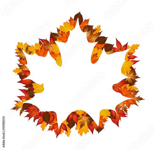 Autumn leaves around maple leaf silhouette