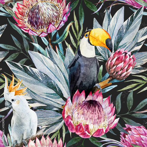 Raster tropical protea pattern - 93909714