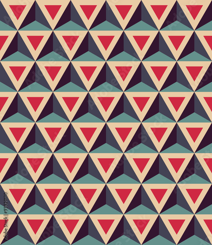 Tapeta Vector modern seamless colorful geometry pattern, 3D triangles, color red blue, abstract geometric background, trendy multicolored print, retro texture, hipster fashion design