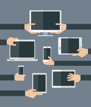 Flat design illustration of hands holding different computer and