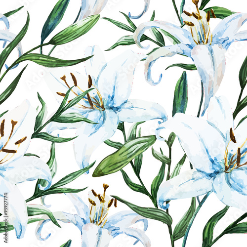 Vector tropical watercolor lilly pattern - 93927774