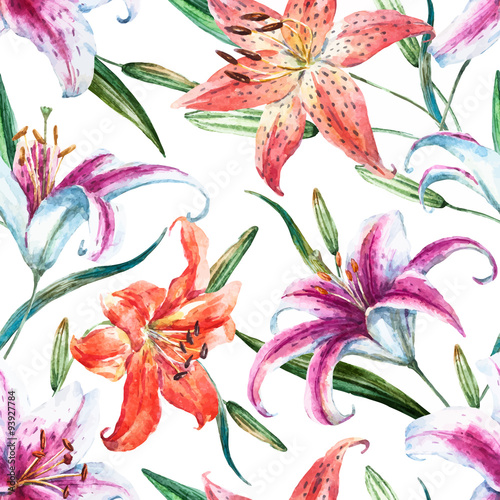 Vector tropical watercolor lilly pattern - 93927784