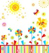 Childish applique with abstract colorful flowers