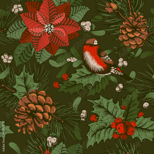 Cotton fabric Winter seamless pattern