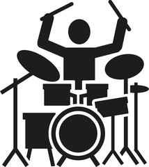 Icon of a drummer with drum kit