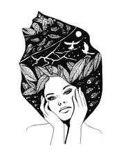 __illustration, graficzny portret czarno-białe kobiety