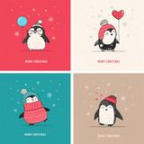 Fototapety Cute hand drawn penguins set - Merry Christmas greetings