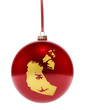Red bauble with the golden shape of Northwest Territories.(serie