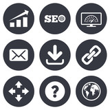 Internet, seo icons. Bandwidth speed sign. poster