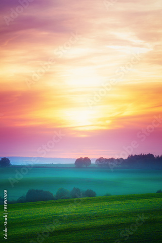Landscape with sunset over cultivated field