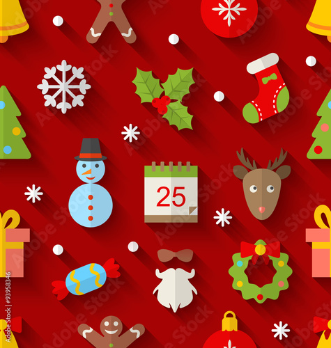 Materiał do szycia Seamless Pattern with Christmas Colorful Objects