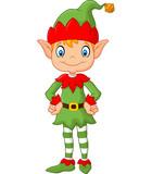 Cartoon Cute Christmas elf posing