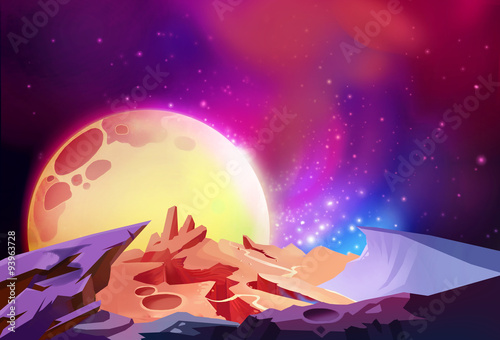 Fototapeta Illustration: The Magnificent Scenery, Cosmos Wonders on a Alien Planet. Story with Fantastic Cartoon Style Scene Wallpaper Background Design.