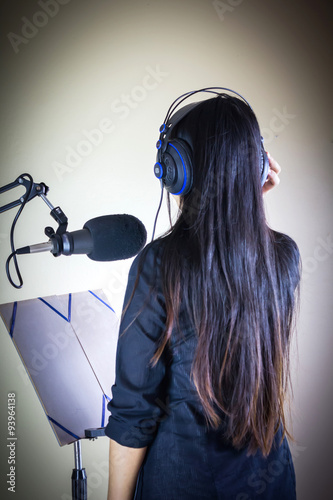 Poster voice recording for advertising or singing