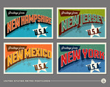 United States vintage typography postcards featuring New Hampshire, New Jersey, New Mexico, New York - 93965538