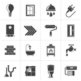 Black Construction and home renovation icons - vector icon set