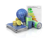 Concept of saving money if use solar energy. Solar battery in fo