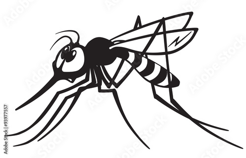 cartoon mosquito gnat .Black and white image - 93977557