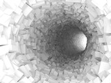 Fototapety Tunnel with walls made of chaotic blocks 3d