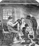A household of orphans, souvenir des Vosges, vintage engraving. poster