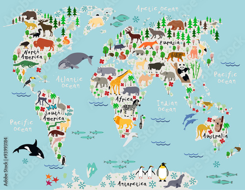 Animal map of the world for children and kids - 93993184