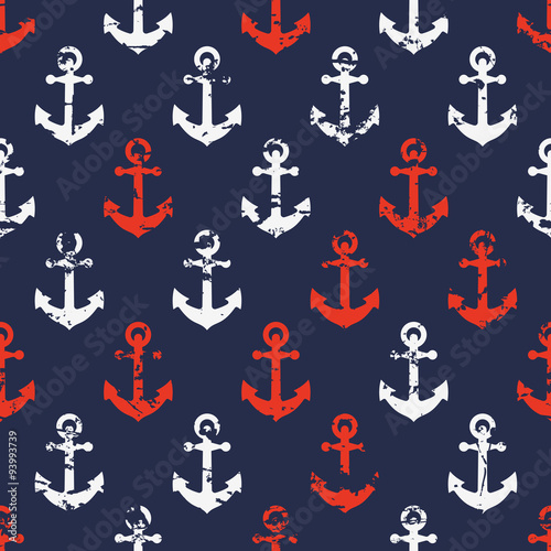 Hand drawn vector seamless navy pattern with red and white ancho