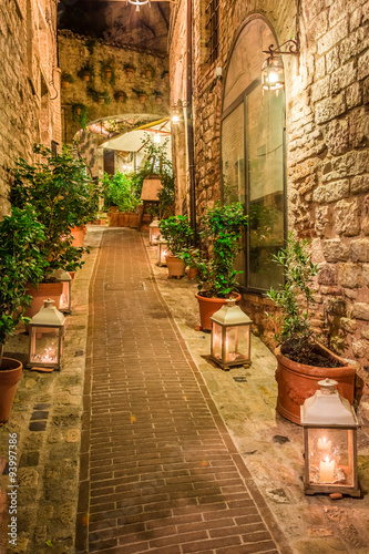obraz PCV Beautiful decorated street in small town in Italy, Umbria