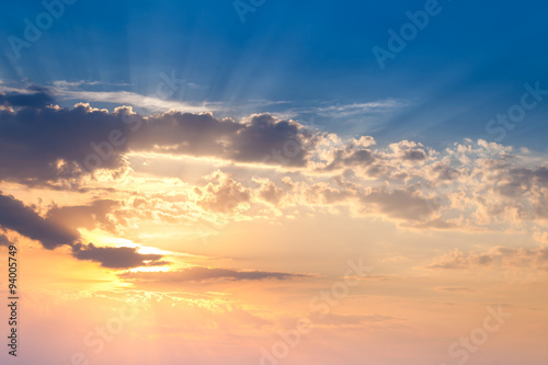 Amazing Sundown Sky with Real Golden Sunbeams, natural