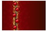 Frohe Weihnachten / Weihnachtskarte / rote Kugeln auf goldenem Band / Gold glitzern