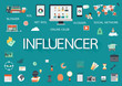 Word INFLUENCER with involved flat icons around.