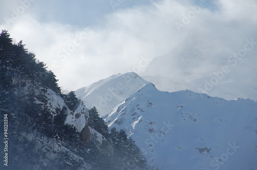 Foggy morning in the mountains, the valley Digor, Vladikavkaz
