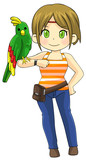 Animal trainer girl tame parrot pet bird stand on her arm, create by cartoon vector  poster