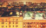 Retro toned Harlem neighborhood at night, NYC, USA. - 94054364
