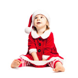 Cute Toddler in Christmas Santa Hat on White