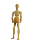 Poseable wooden manekin figure holding a medium sized egg. One of a series using different sized eggs to illustrate growth of savings, investments etc.