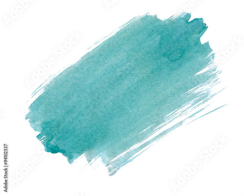 A fragment of the turquoise background painted with watercolors