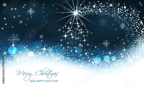 Christmas greeting card with christmas tree on abstract snow background.