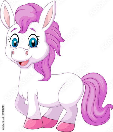 Poster Pony Cute baby pony horse posing isolated on white background