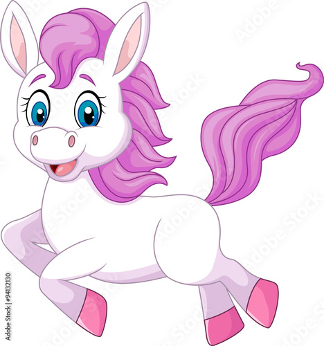 Poster Pony Cute beautiful pony horse running isolated on white background
