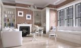Wohnzimmer mit Kamin im Country Look - 94141902