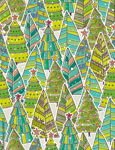 Cotton fabric christmas background with forest of christmas trees, vector