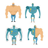 Set of Cyborgs. Robot in human body. Iron, metal skeleton of man