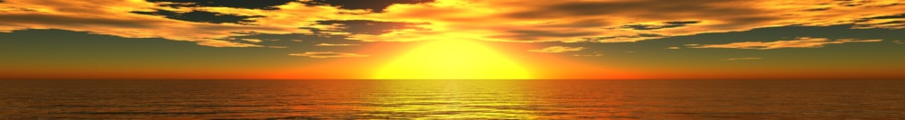 Fototapeta panorama zachód słońca nad morzem